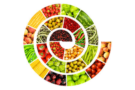 Spiral made of vaus fruits and vegetables Stock Photo - 9087834