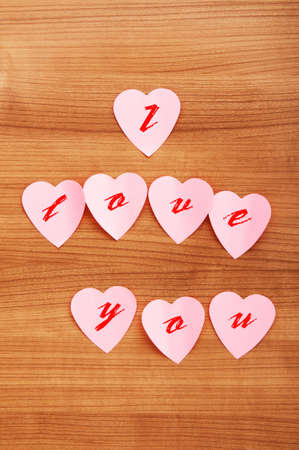 Heart shaped sticky notes on the background Stock Photo - 9221747