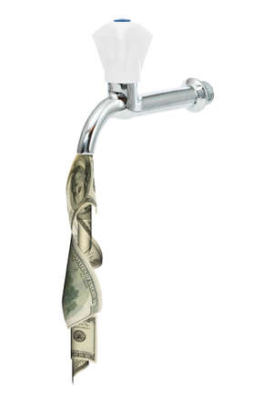 Tap with dollars flowing out of it photo