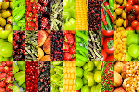 Collage of many different fruits and vegetables Stock Photo - 9221743