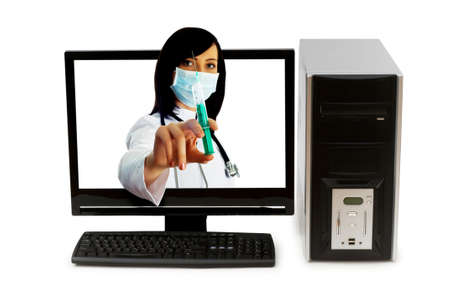 Doctor from computer screen - Healthcare or computer security concept photo