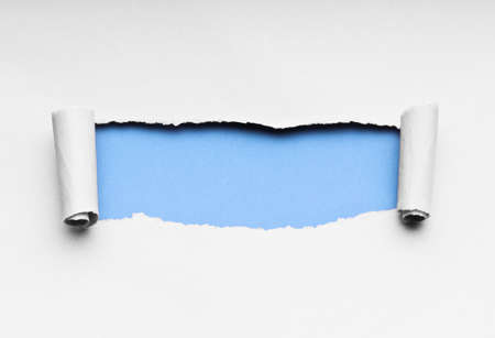 rolled scroll: Torn paper with space for your message Stock Photo