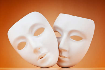 canvass: Theatre concept with masks against background