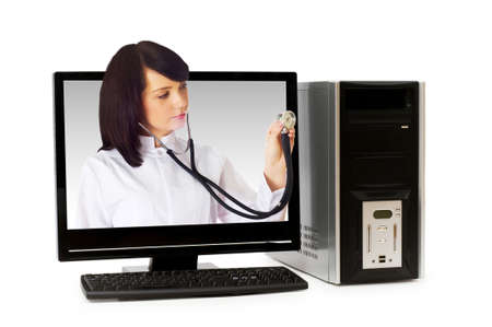 doctor computer: Doctor from computer screen - Healthcare or computer security concept