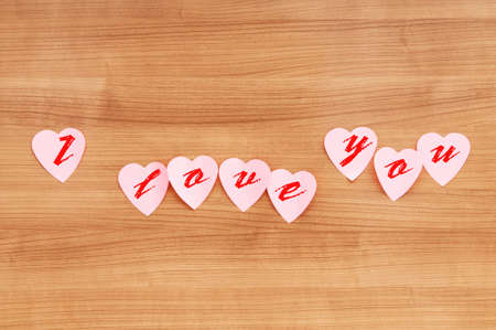 Heart shaped sticky notes on the background Stock Photo - 9309864