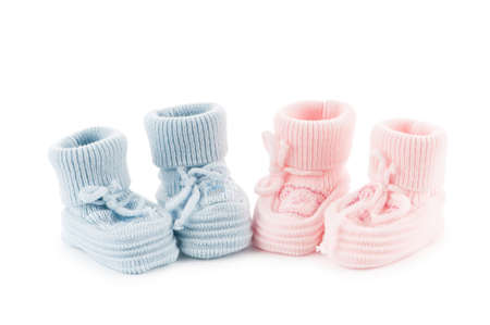 new age: Woven baby shoes isolated on white background Stock Photo