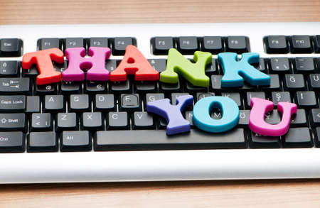Thank you message on the keyboard photo
