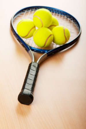 Tennis concept with balls and racket Stock Photo