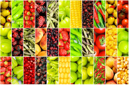 peas in a pod: Collage of many different fruits and vegetables