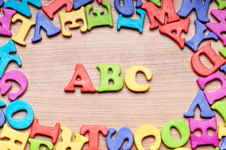 grammar: Early education concept with letters Stock Photo