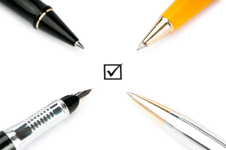 Pen and tick boxes with Yes and No options Stock Photo - 9374597