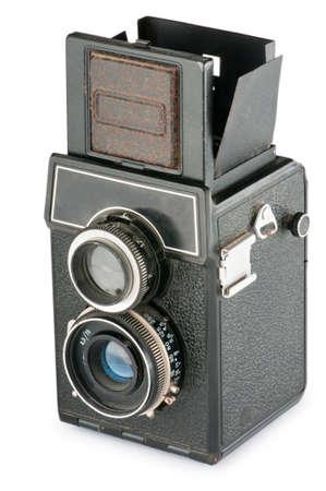 Vintage film camera isolated on white photo