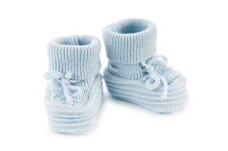foot gear: Woven baby shoes isolated on white background Stock Photo