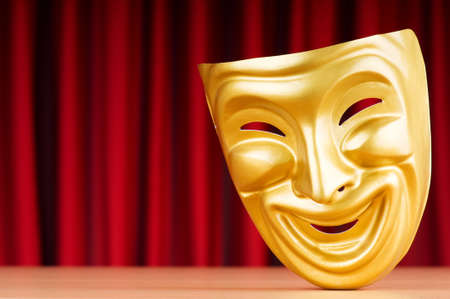 comedy and tragedy: Theatre mask against the background Stock Photo