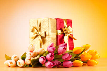 Celebration concept - gift box and tulip flowers Stock Photo - 9542141