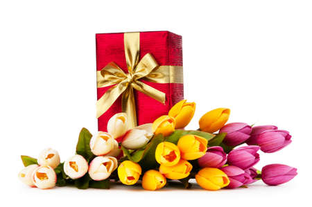 december: Celebration concept - gift box and tulip flowers