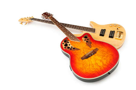 Musical guitar isolated on the white background Imagens