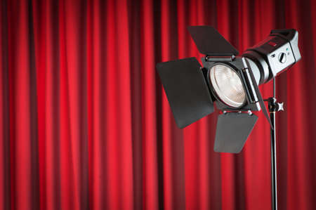 Curtains and projector lights wtih space for your text photo