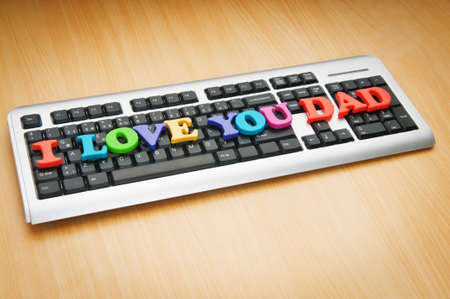 I love you Dad words on the keyboard photo