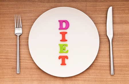 Plate with letters on the white background photo