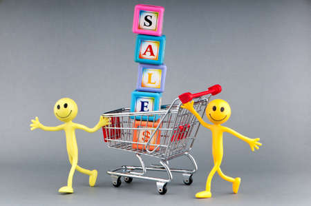 Happy family with shopping cart Stock Photo - 9590082