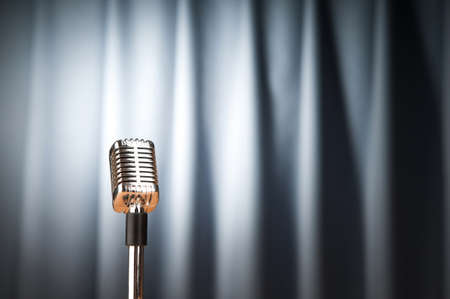 Audio microphone against the background Stock Photo - 9593576