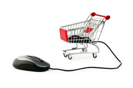 Internet online shopping concept with computer and cart photo