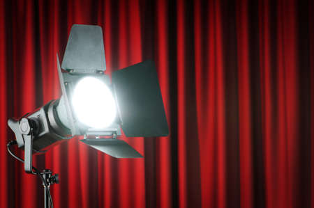 Curtains and projector lights wtih space for your text Stock Photo - 9715797