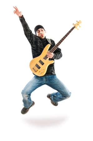 Guitar player jumping in the air photo