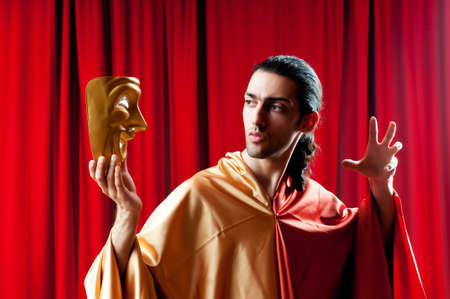 Actor with maks in a funny theater concept Stock Photo - 9726982