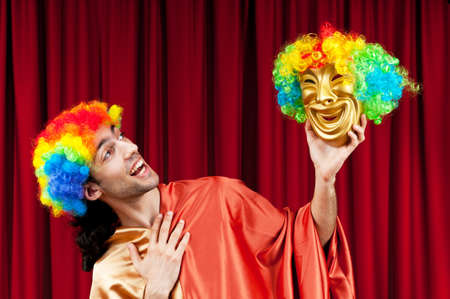 Actor with maks in a funny theater concept Stock Photo - 9726963
