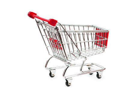 Shopping cart against the white background Stock Photo - 9714433