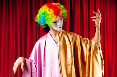 Actor with maks in a funny theater concept Stock Photo - 9726934