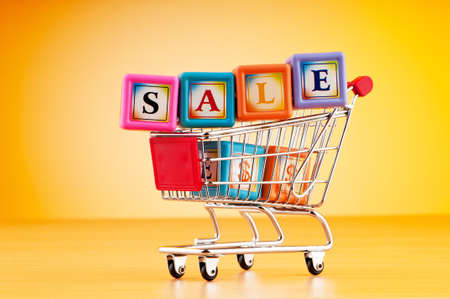 Shopping cart against the  background Stock Photo - 9716673