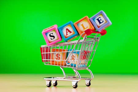 Shopping cart against the  background Stock Photo - 9715659