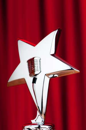 Star award against curtain background Stock Photo - 9716852