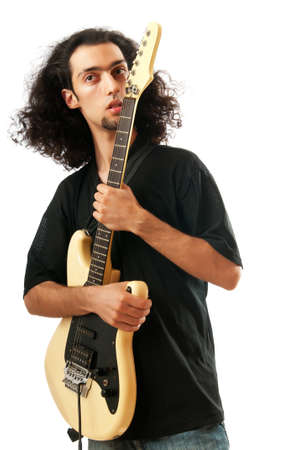 Guitar player isolated on the white background Stock Photo - 9726403