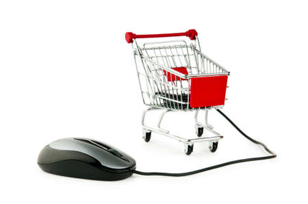 shopping online: Internet online shopping concept with computer and cart Stock Photo