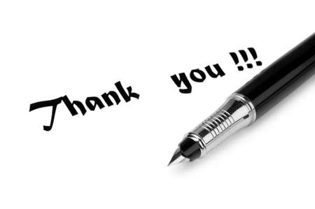 Thank you message and pen on white Stock Photo - 9752577