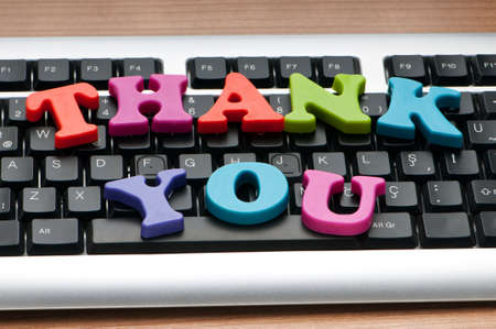 Thank you message on the keyboard Stock Photo - 9752887