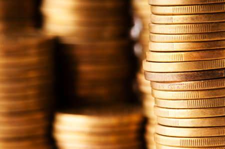 Close up of the golden coin stacks Stock Photo - 9752893