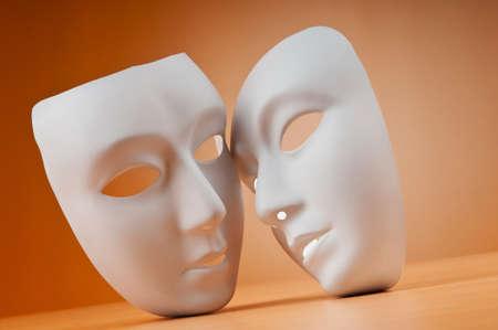 sad love: Masks with theatre concept Stock Photo
