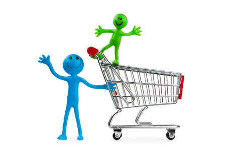 Shopping cart against the white background Stock Photo - 9752582