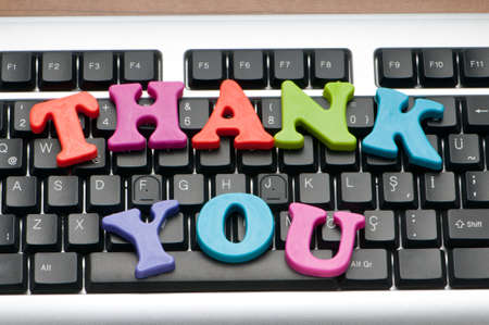 Thank you message on the keyboard Stock Photo - 9822907