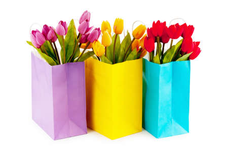 Tulips in the bag isolated on white
