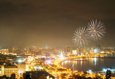 baku: Fireworks in Baku, Azerbaijan Stock Photo