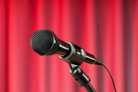 Audio microphone against the background photo