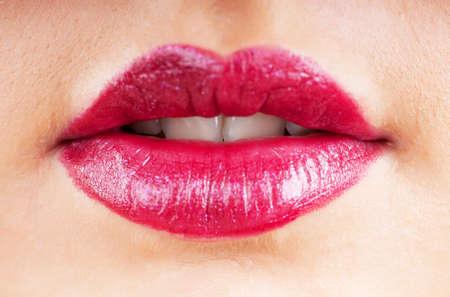 Close up of woman lips photo