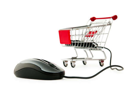 online shop: Internet online shopping concept with computer and cart Stock Photo