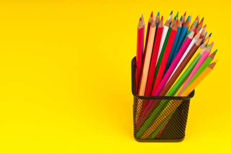 Colourful pencils on the background photo